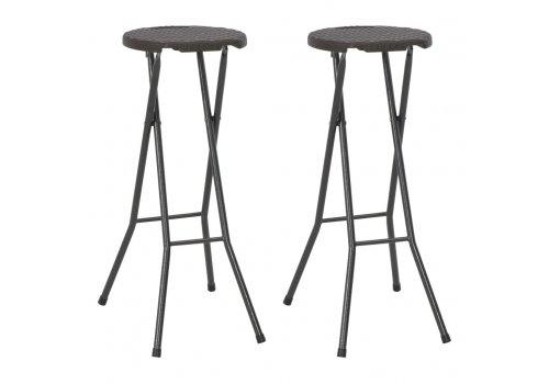 Сгъваеми бар столове, 2 бр, HDPE и стомана, кафяви, ратанов вид 44559 - Столове