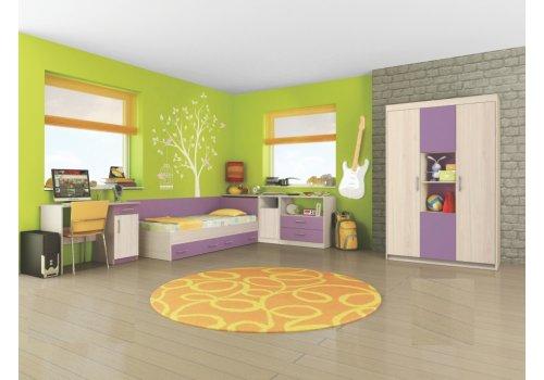 Детски комплект Анди - Пясъчен дъб и виолет - Детски спални комплекти