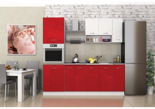 Кухненска конфигурация Алис 19 - Червен и бял гланц - Кухненски комплекти