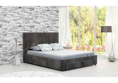 Тапицирано легло Велато с четири чекмеджета - Кафяв - Тапицирани легла