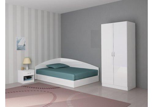 Спален комплект Аполо 1 с ВКЛЮЧЕН МАТРАК - Бял гланц - Спални комплекти с матраци