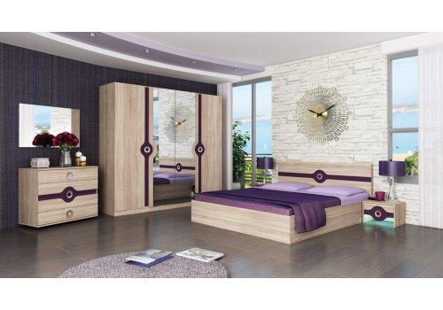 Спален комплект Фиона с ВКЛЮЧЕН МАТРАК - Дъб сонома и патладжан - Спални комплекти с матраци