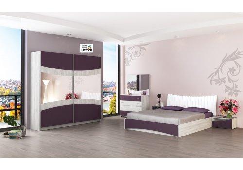 Спален комплект Сиена Н с ВКЛЮЧЕН МАТРАК - Дъб бланко и патладжан - Спални комплекти с матраци