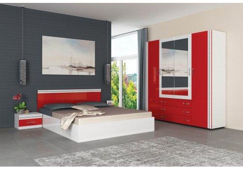 Спален комплект Валентина с ВКЛЮЧЕН МАТРАК - бял гланц и червен гланц - Спални комплекти с матраци