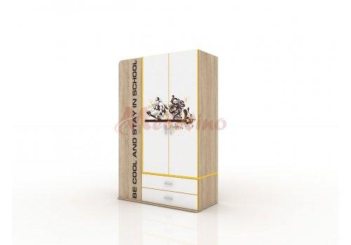 Детски трикрилен гардероб Сити 1019 с две чекмеджета - Гардероби