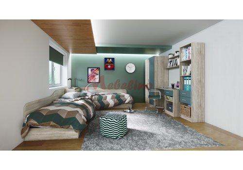 Детско обзавеждане Сити 5011 с ъглови легла и ракла - Вариант 2 - Детски спални комплекти