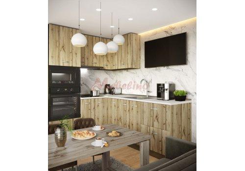 Модулна кухня Сити 872 с цели термоплотове - Кухненски комплекти