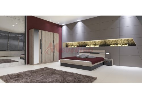 Спален комплект Сити 7012 с ВКЛЮЧЕН МАТРАК, повдигащ механизъм и LED осветление - Спални комплекти с матраци