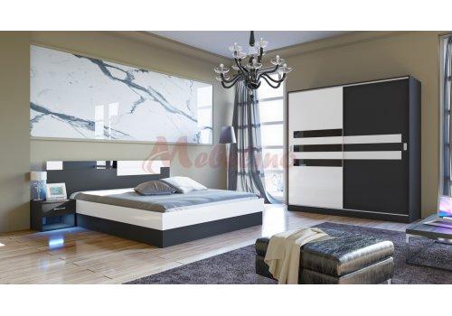 Спален комплект Сити 7022 с RGB LED осветление и повдигащ механизъм - РАЗПРОДАЖБА -