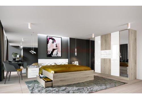 Спален комплект Сити 7033 с ВКЛЮЧЕН МАТРАК и LED осветление  - Спални комплекти с матраци