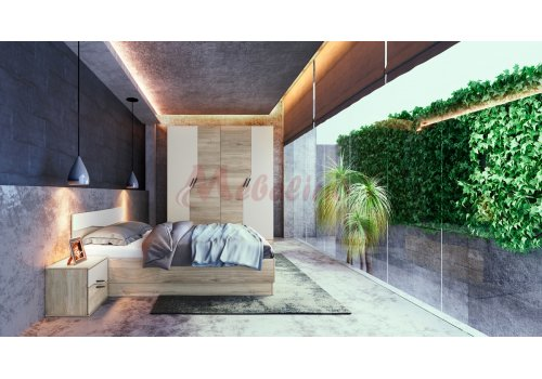 Спален комплект Сити 7042 с ВКЛЮЧЕН МАТРАК, LED осветление и повдигащ механизъм - Спални комплекти с матраци