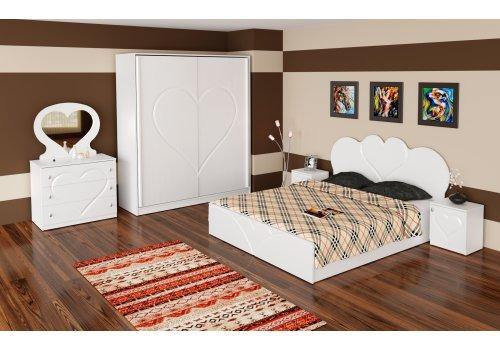 Спален комплект Love с ВКЛЮЧЕН МАТРАК, скрин, огледало и повдигащ механизъм - Спалня